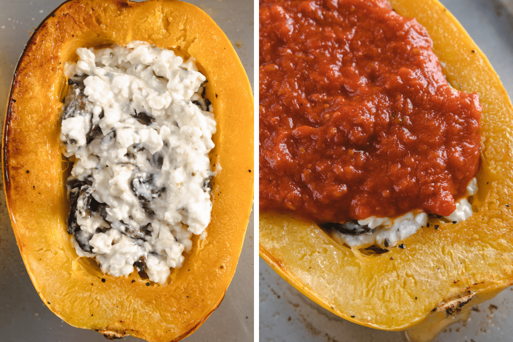side by side picture of spaghetti squash being filled with stuffing.