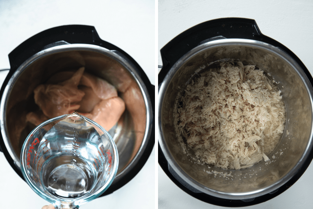 water and chicken inside of the instant pot.