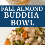 fall almond buddha bowl with sauce and vegetables.