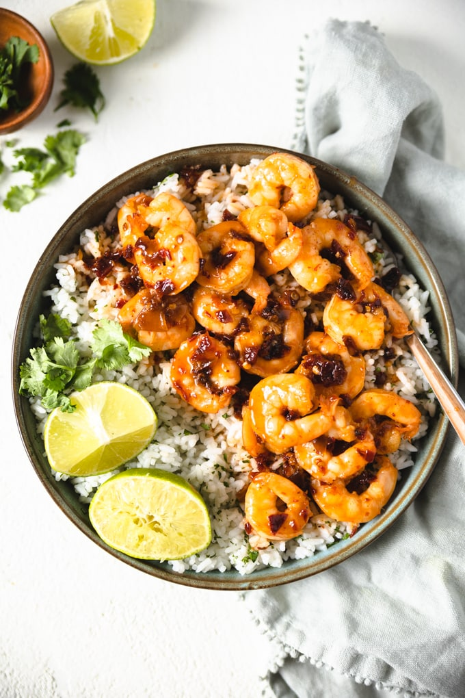 Chipotle pepper shrimp with honey and lime in a bowl with rice.