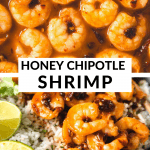 shrimp in a skillet with sauce and in a bowl with chipotle