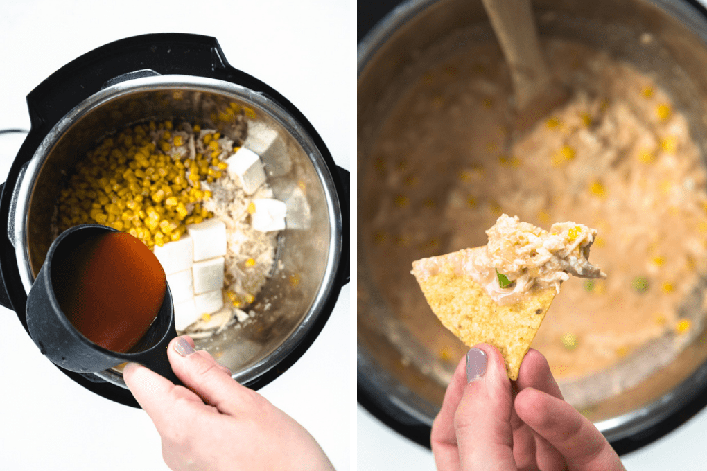 inside of an instant pot with ingredients and a wooden spoon.