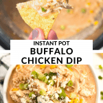 a chip with buffalo chicken dip on top inside of an instant pot.