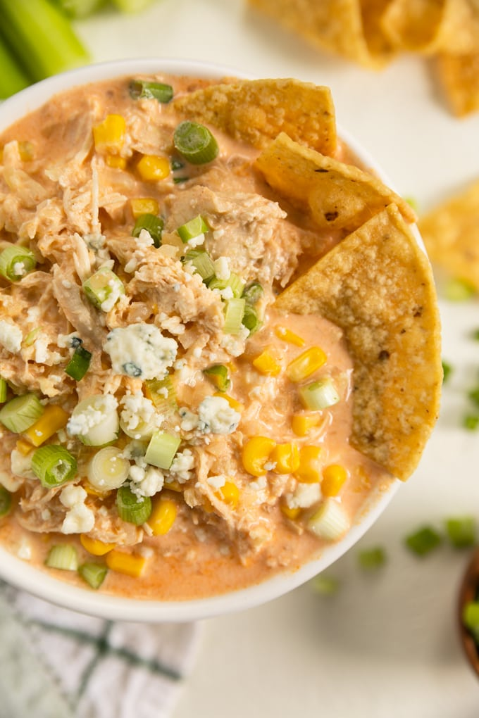 a bowl of buffalo chicken dip with tortillas being dunked into it.