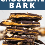 peanut butter chocolate bark text over top of actual bark with crushed pretzels.