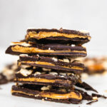 stacked pieces of peanut butter chocolate bark