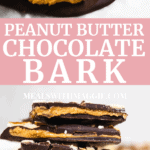 stacked peanut butter chocolate bark with peanut butter coming out of the insides.