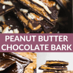 Chocolate bark stuffed with peanut butter and other images on how to make peanut butter chocolate bark.