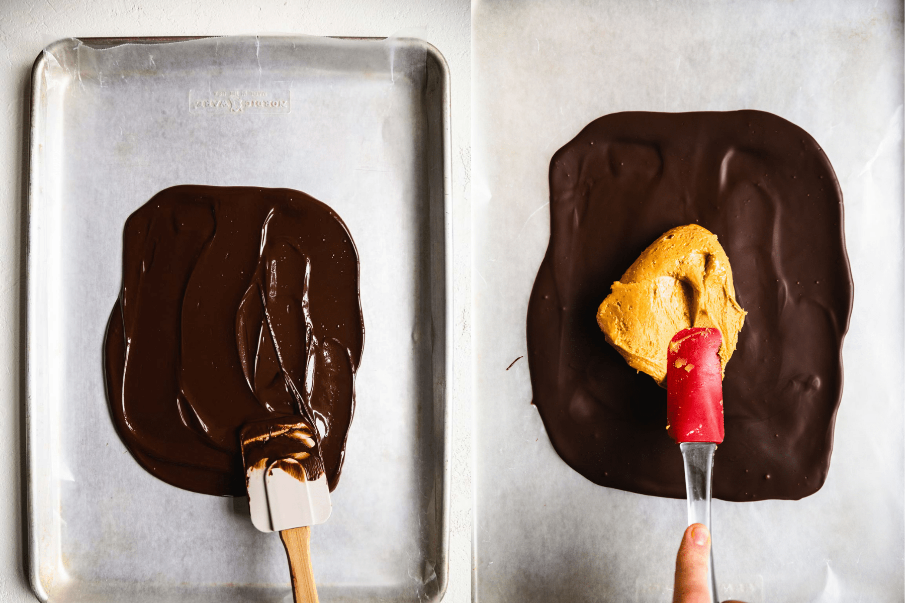 side by side image of chocolate on a baking sheet with peanut butter layer next to it.