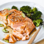 flaked apart salmon on a plate with broccoli.