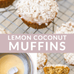 lemon coconut muffins on a cooling rack with other pictures of how its made on the bottom.