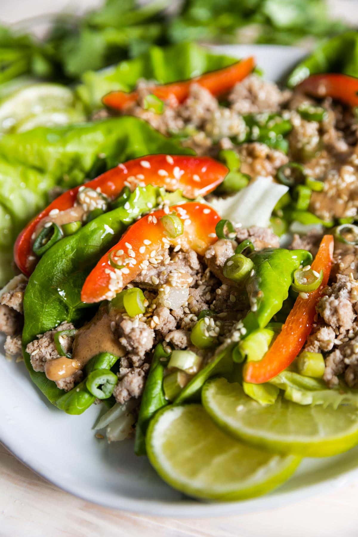 Up close image of inside a lettuce wrap with ground turkey, bell pepper, peanut sauce and onions.